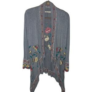 CAITE GRAY EMBROIDERED BOHO CARDIGAN TOP  SIZE M